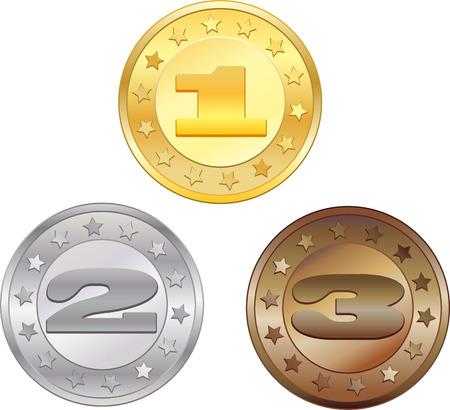 Medallas para el primer, segundo y tercer lugar  Foto de archivo - 7373438