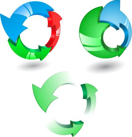 Conjunto de colores diferentes de flechas de vidrio y direcciones de c�rculo