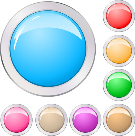 Different colors buttons set Stock Vector - 7637896