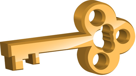key success: Golden key on white background Illustration