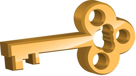oude sleutel: Gouden sleutel op witte achtergrond Stock Illustratie
