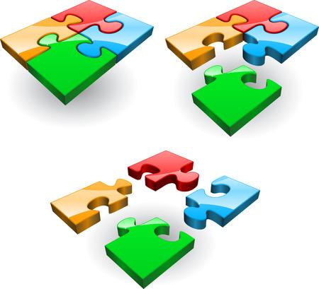 piezas de rompecabezas: Conjunto de cuatro puzzles recolectado de diferentes