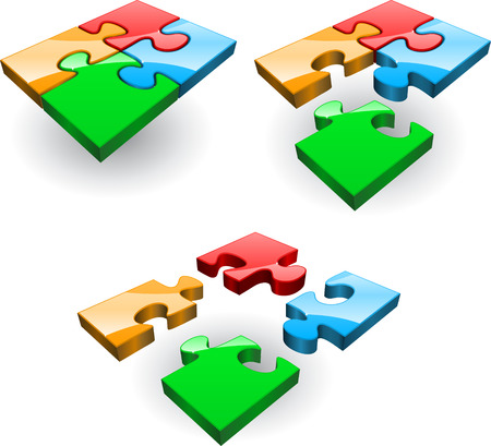 art piece: Set of four puzzles collected from different Illustration