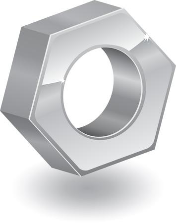 Three-dimensional metal nut Stock Vector - 7919083