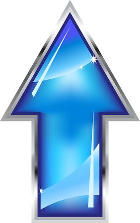 flecha azul: Flecha brillante con marco  Vectores