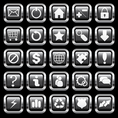 Chrome buttons for websites and blogs Stock Vector - 7919128