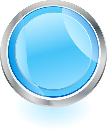 steel frame: Blue button with steel frame Illustration