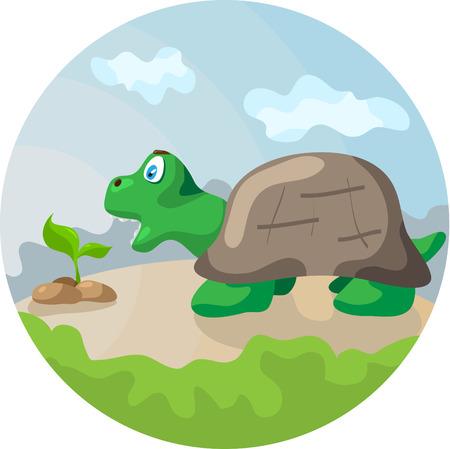 eats: Little turtle eats plant