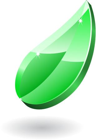Glass icon transparent leaf Vector