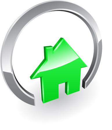 icone maison: Prot�g�e maison �cologique vert Illustration