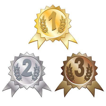 primer lugar: Premios de oro, plata y bronce  Vectores