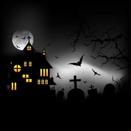Halloween castle at night Stock Vector - 7919149