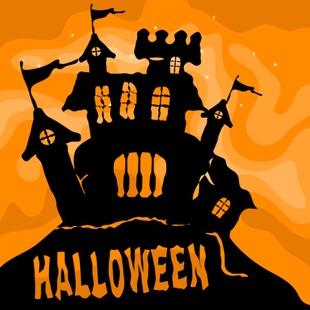 Black Halloween castle with orange sky Stock Vector - 7919137