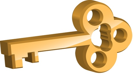 Golden key on white background Vector