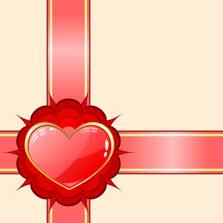 Gift ribbon with red heart Stock Vector - 8805373