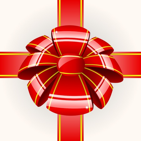 Big red bow with ribbon Vector