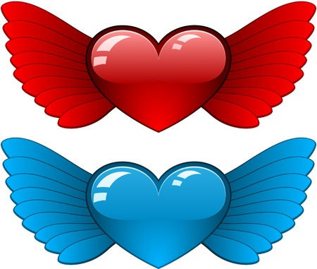 Hearts with wings Stock Vector - 8805398