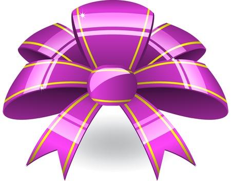 Purple ribbon bow Vector
