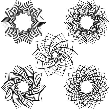 Five black spirals