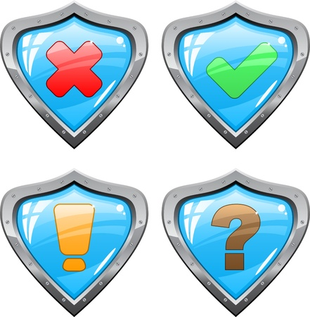 Shields with signs Vector
