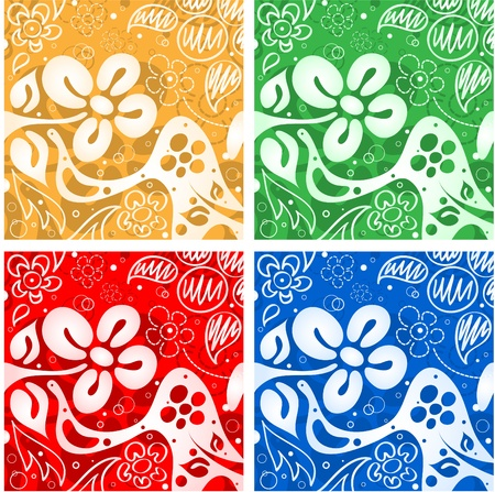 Four flowers backgrounds Stock Vector - 9342935