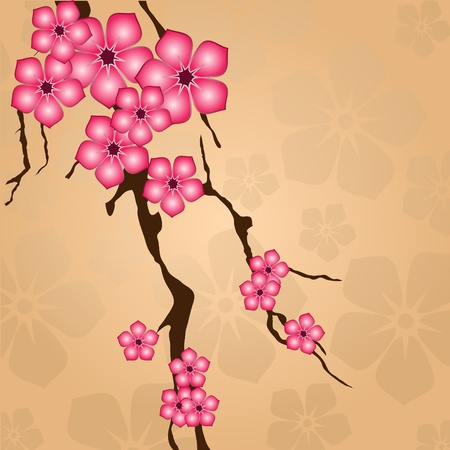 japanese style: Branch with flowers