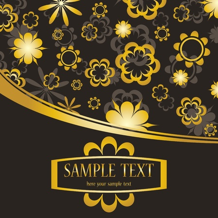 Golden flowers background Vector