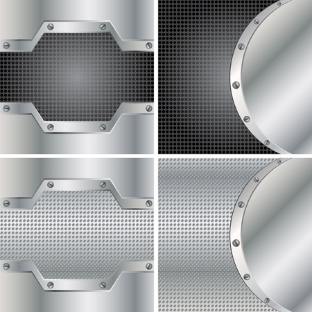 Four metal backgrounds Stock Vector - 9521363