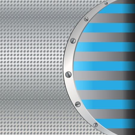 lamiera metallica: Sfondo metallico con linee blu Vettoriali