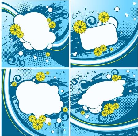 Four blue floral backgrounds Vector