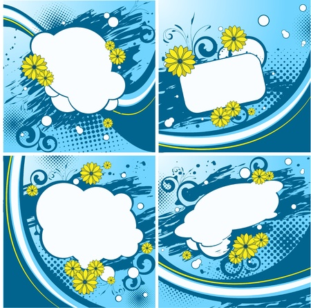 blue backgrounds: Four blue floral backgrounds