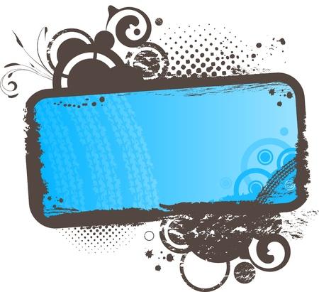 floral grunge: Grunge floral blue frame