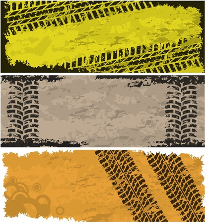 Tire track banners Stock Vector - 10927082