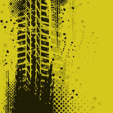 traces pneus: Fond jaune Illustration