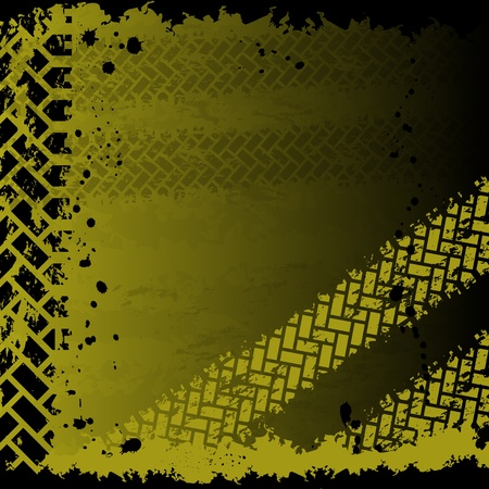 tyre tread: Background with tire tracks Illustration