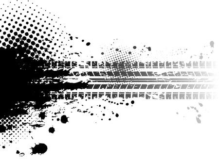 huellas de neumaticos: Grunge de los neumáticos pistas de fondo Vectores