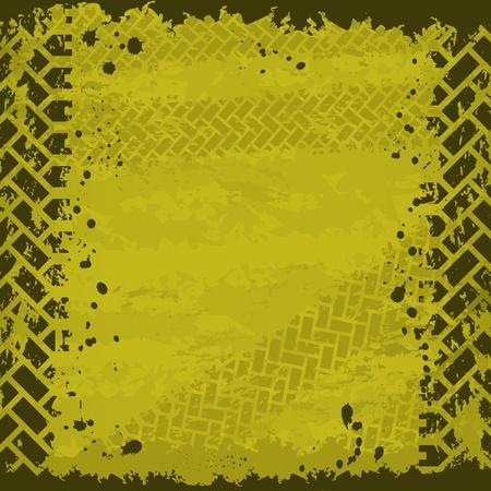 huellas de neumaticos: Neum�ticos fondo amarillo pista Vectores