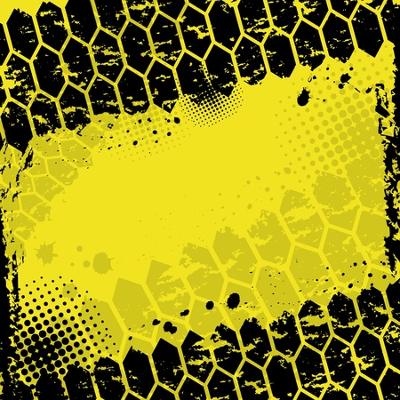 offroad: Grunge yellow tire track background Illustration