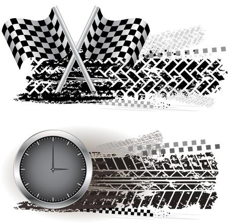 Tire Track Banner Illustration