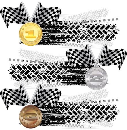 pisada: Tire la pista con las medallas Vectores