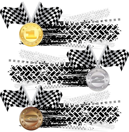 Tire track with medals Vector