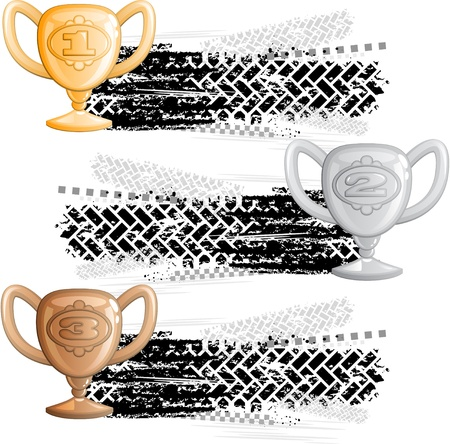 Tire track banners with cups Stock Vector - 11674104