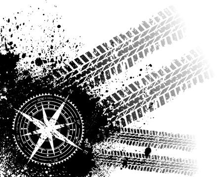 Huellas de los neumáticos con rosa de los vientos