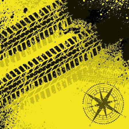 wind wheel: Tracce di pneumatici gialli con rosa dei venti
