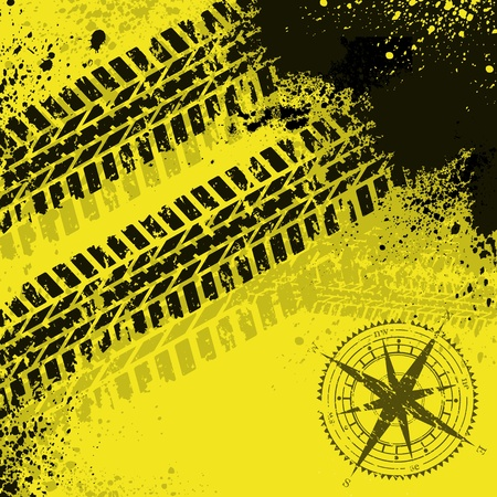treads: Yellow tire tracks with wind rose