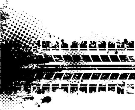 huellas de neumaticos: Llantas con fondo blanco pista Vectores