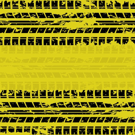 skidding: Yellow tire track background