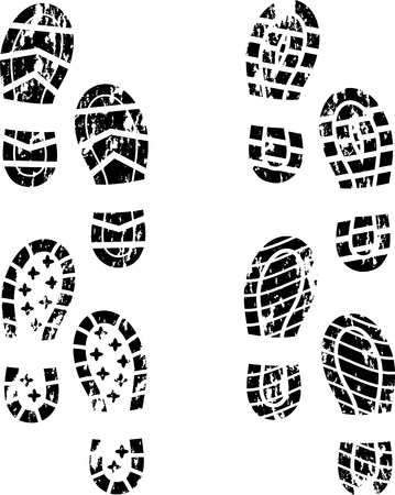 walking shoes: Grunge shoe print Illustration