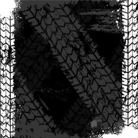 Grunge tire track backgound Vector