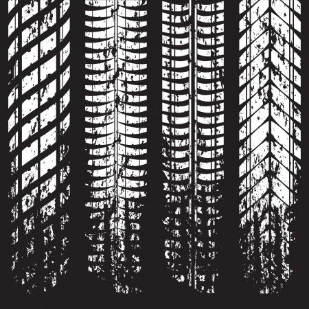 Grunge de los neum�ticos de marcas de pista en negro Vectores